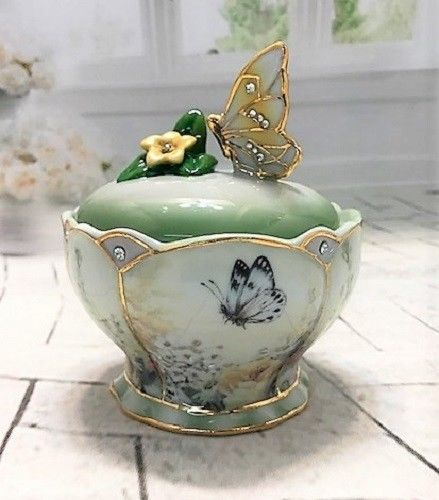 Bradford Exchange Golden Grace Butterfly Trinket Box Lena Liu