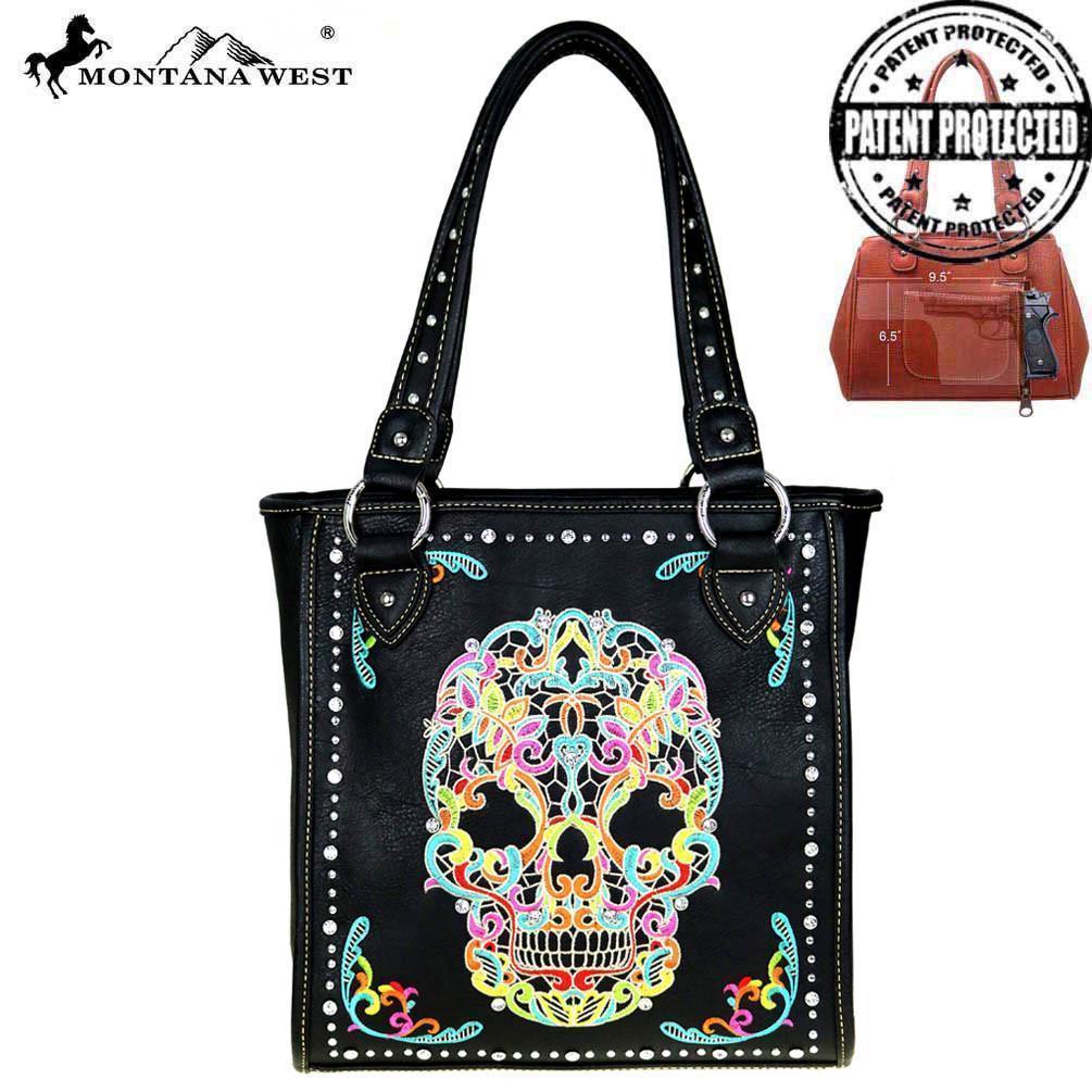 Montana West Sugar Skull Handbag Purse Back Zippered Concealed Compartment