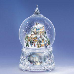 Thomas Kinkade Water Globe Snow Man Trekking into the Season by Bradford