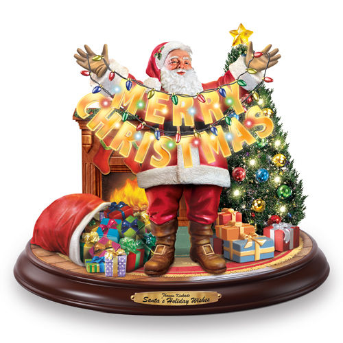 Thomas Kinkade Christmas.Santa S Holiday Wishes Thomas Kinkade Christmas Figurine Bradford Exchange