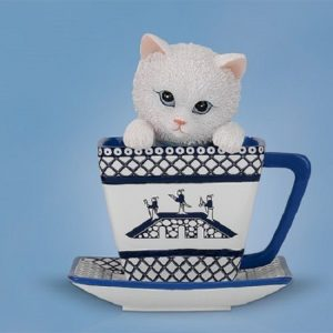 Dark Roast Black Cat Kitten in Tea Coffee Cup Figurine Bradford Exchange